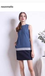 NEONMELLO BEAUMONT COLOURBLOCK SHIFT DRESS in teal blue