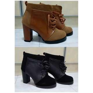 BNIB camel / black lace up boots / booties - $35 each