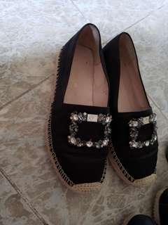 100% Real it venilla suite 閃石草鞋 US 6 23cm 黑色易款