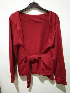 Cardigan merah maroon