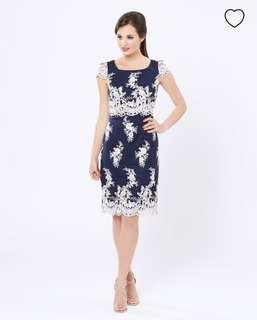 Review serenity lace embroidery navy dress