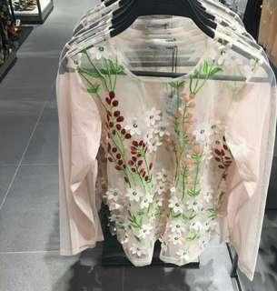 ZARA SHEER EMBROIDED TOP