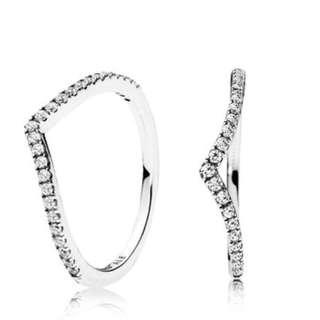 Pandora Wish Bone Shimmering ring size 54