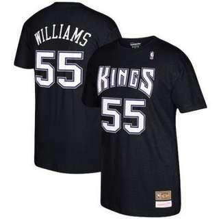 Men's Sacramento Kings Jason Williams Mitchell & Ness (M&N) Black Hardwood Classics Retro Name & Number T-Shirt Size L