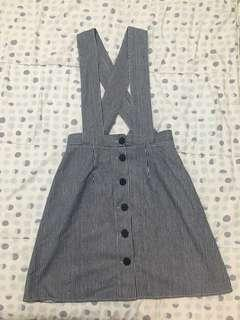 NEW with tag striped gray skirt with adjustable straps