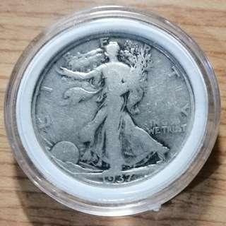 美國1937年行走女神半美元銀幣 D版 較少年 少見版本 VF+ 保真 附內墊小圓盒