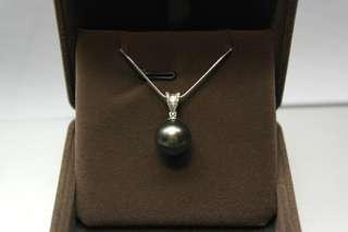18K白金鑽石大溪地黑珍珠吊咀 (特價)