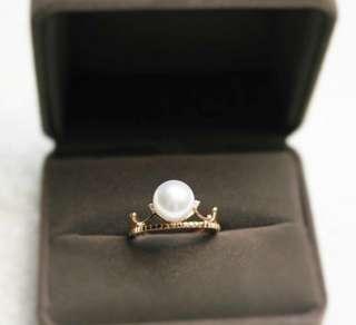 18k 玫瑰金 鑽石 日本極光珍珠戒指 (特價)