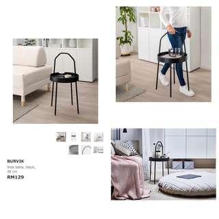 Ikea - Burvik, Side Table, Black (38cm)