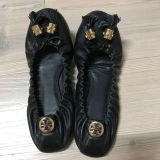 Authentic tory burch black flat shoes