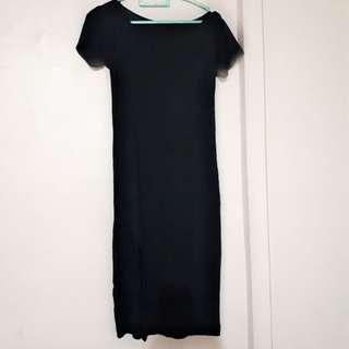Black midi dress bodycon belah sepaha