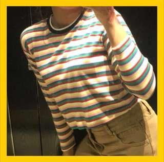10de3d97c738 Rainbow Strip Bamboo Cotton Top