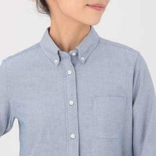muji blue short sleeve oxford shirt