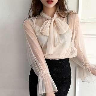 ✨READY STOCK Mesh Ribbon Blouse + Inner