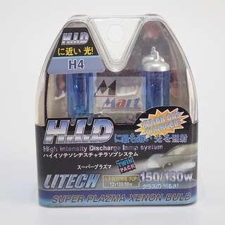LITECH H4 P43T 100/90W Super White Headlight Halogen Bulb Lamp Light (TWIN PACK)
