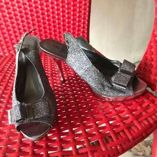 GIBI Silver and Glitter coated Heels