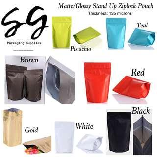 135 microns Matte/Glossy Stand Up Ziplock Pouch
