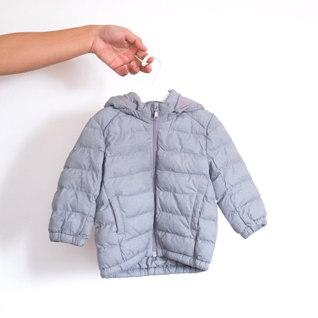 b4f42b50d [ Preloved ] Uniqlo Baby Toddler Light Warm Padded Full Zip Parka Grey Down  Jacket, Babies & Kids, Babies Apparel on Carousell