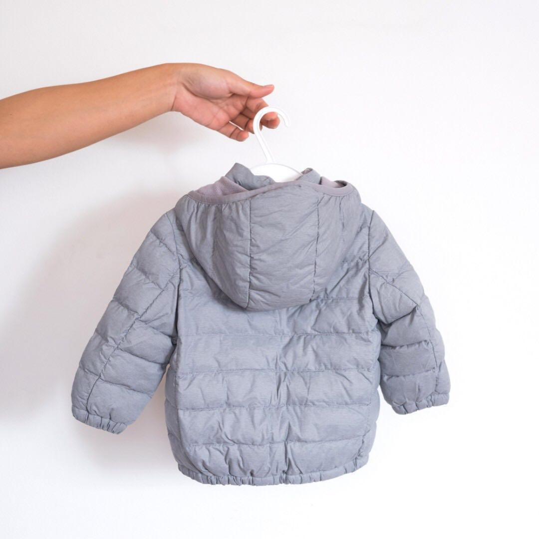 f14d00407 [ Preloved ] Uniqlo Baby Toddler Light Warm Padded Full Zip Parka Grey Down  Jacket