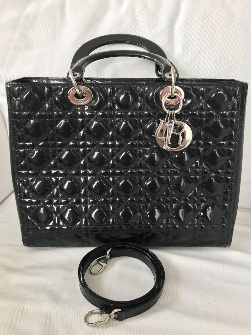 3a4a0388a564de Authentic Lady Dior Large Black Patent Leather Bag, Luxury, Bags ...