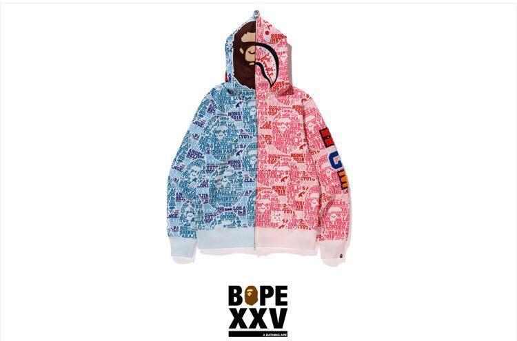 9e64c1512 Bape XXV cities camo 2nd ape shark half full zip hoodie, Men's ...