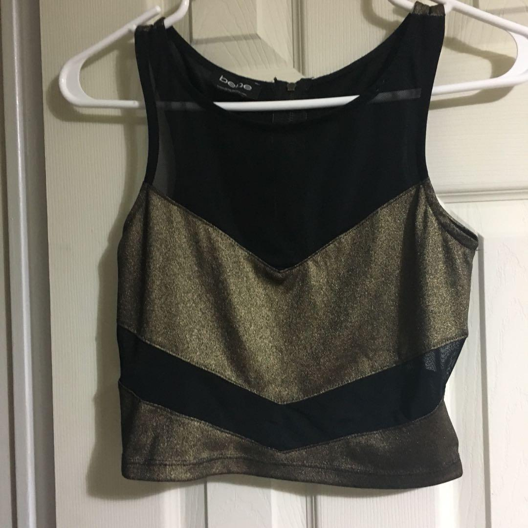 Bebe gold+ black tank crop top