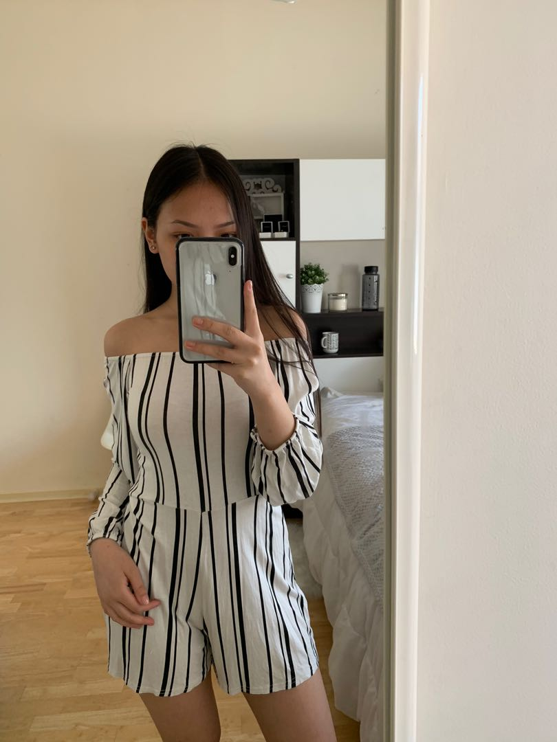 801f549cce0 Black   white striped off the shoulder long sleeve playsuit