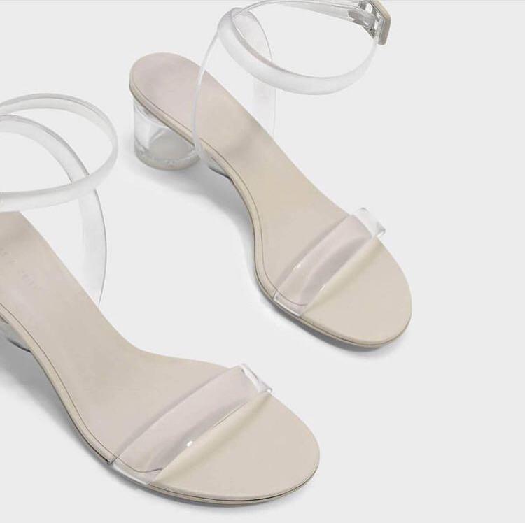 cnk charles n keith heels stripe transparent 2350dc15a8