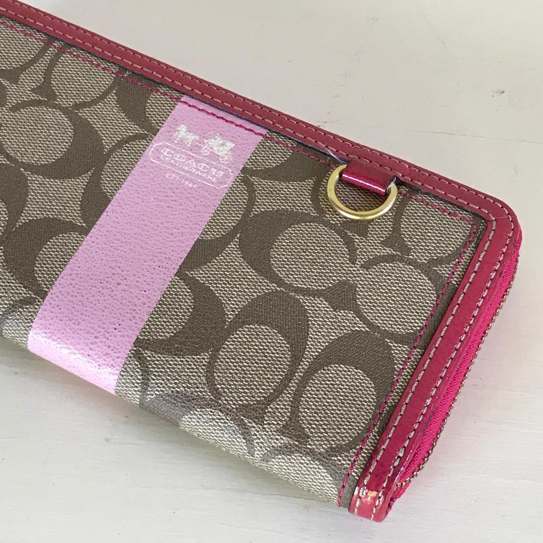 Coach Canvas Logo w/ Pink Leather Trim * Zip Around Wallet