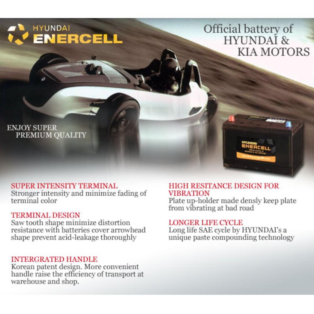 Hyundai Enercell Battery 55b24l 45ah Maintenance Free Car