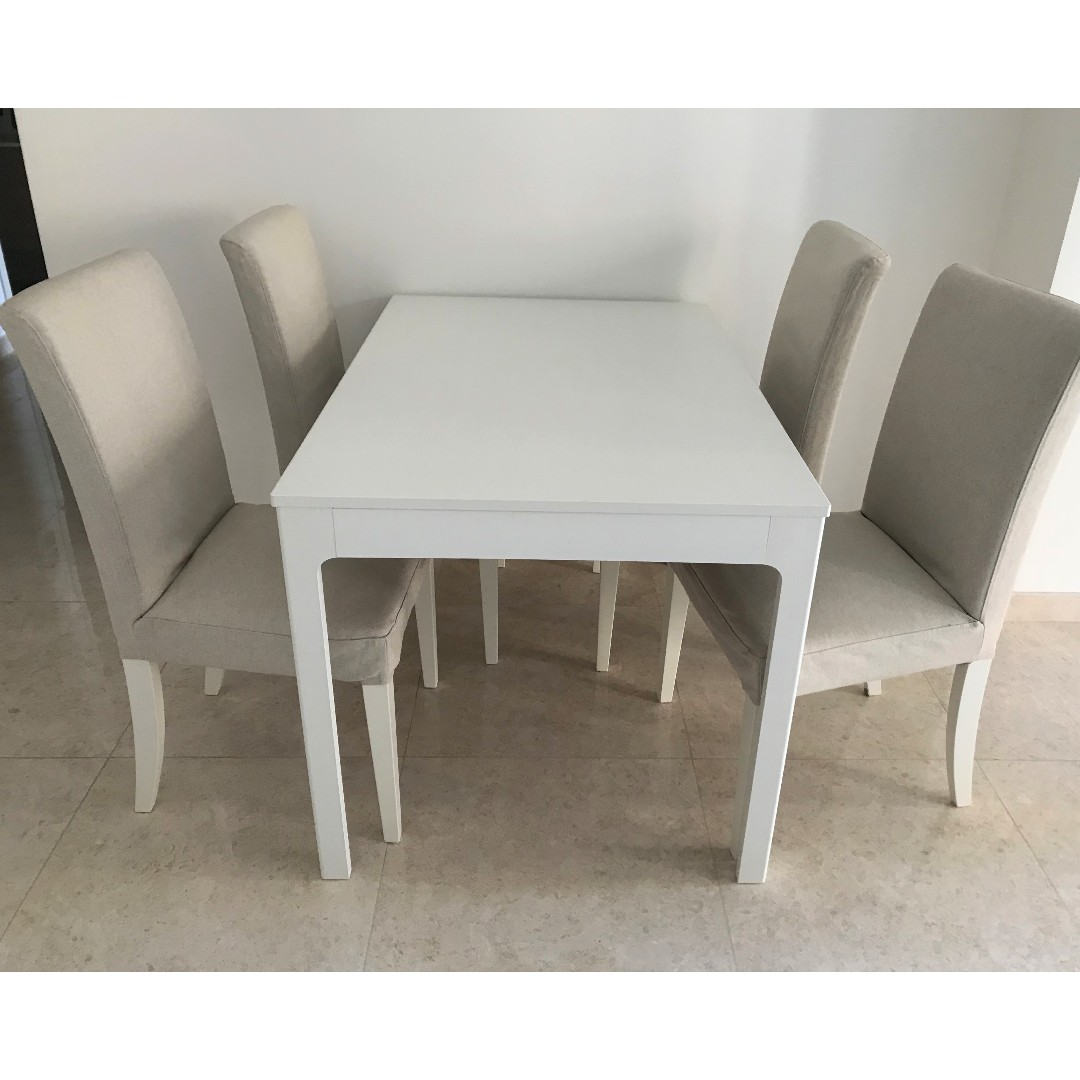 Extendable Ikea Table 4 Chairs White Beige Dining Set