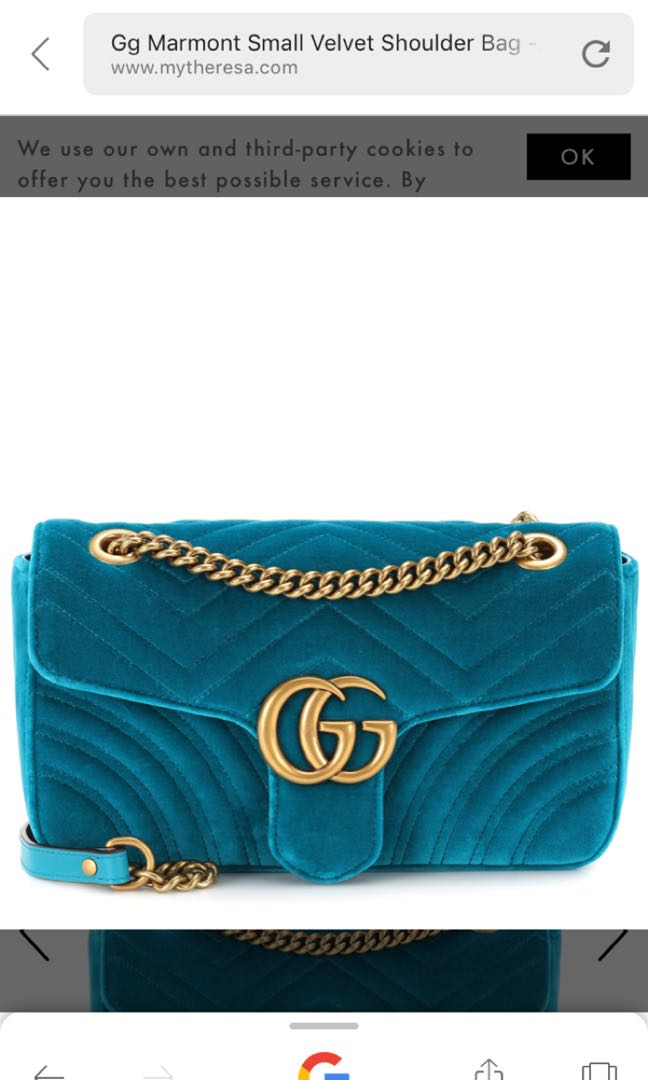 e4255b8e774e GUCCI GG Marmont Small velvet shoulder bag, Women's Fashion, Women's ...