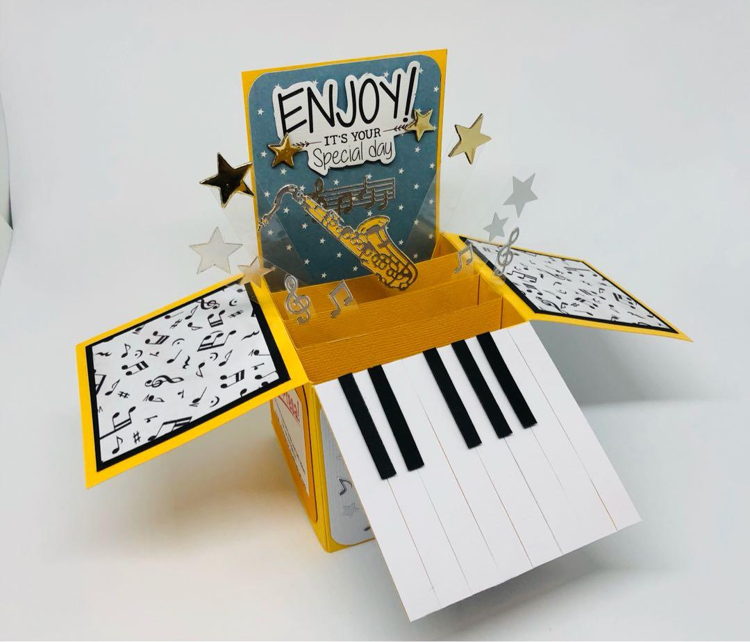 Groovy Happy Birthday Music Themed Hand Made Greeting Card With Actual Personalised Birthday Cards Cominlily Jamesorg