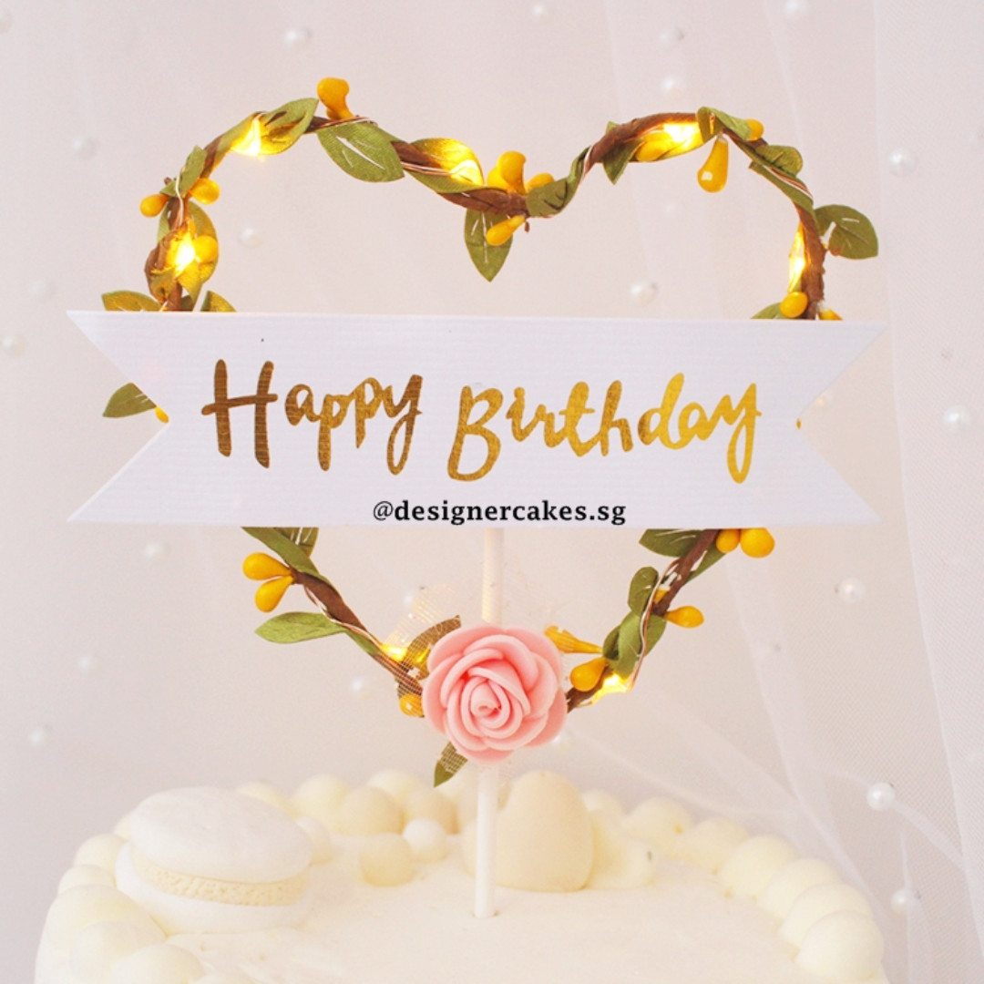 HEART LIGHT UP BIRTHDAY CAKE TOPPER Food Drinks Baked Goods On Carousell