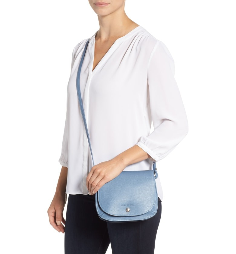 Lomgchamp Small Le Foulonne Leather Crossbody Bag - Blue 159e24cd2c