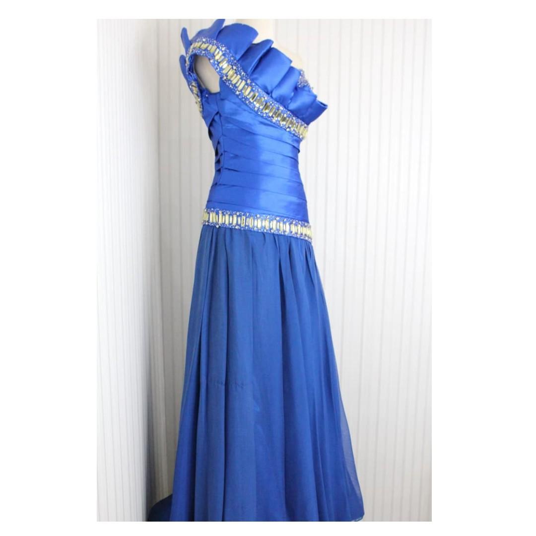 Long Dress Gaun Pesta Gaun Prewedding Warna Biru Elektrik Kode 5561