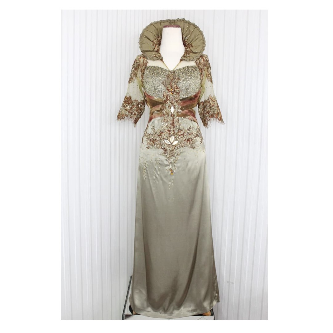 Long Dress Gaun Pesta Warna Hijau Tembaga Model Kerah Tinggi Kode