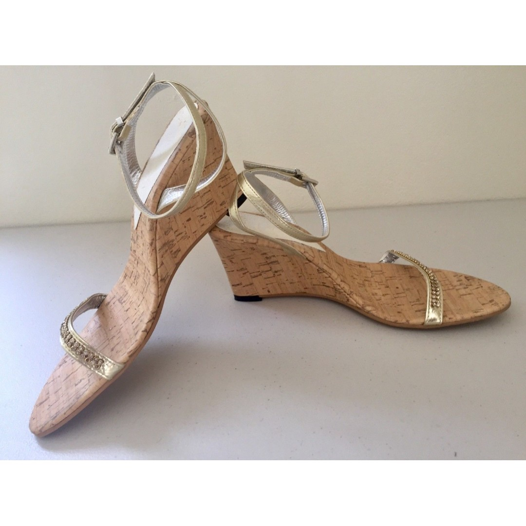 136291232a 'Luna' Gold Diamante Cork Wedges Mid Heel Strappy Sandals AU 9 UK 7 EU 40,  Women's Fashion, Shoes on Carousell