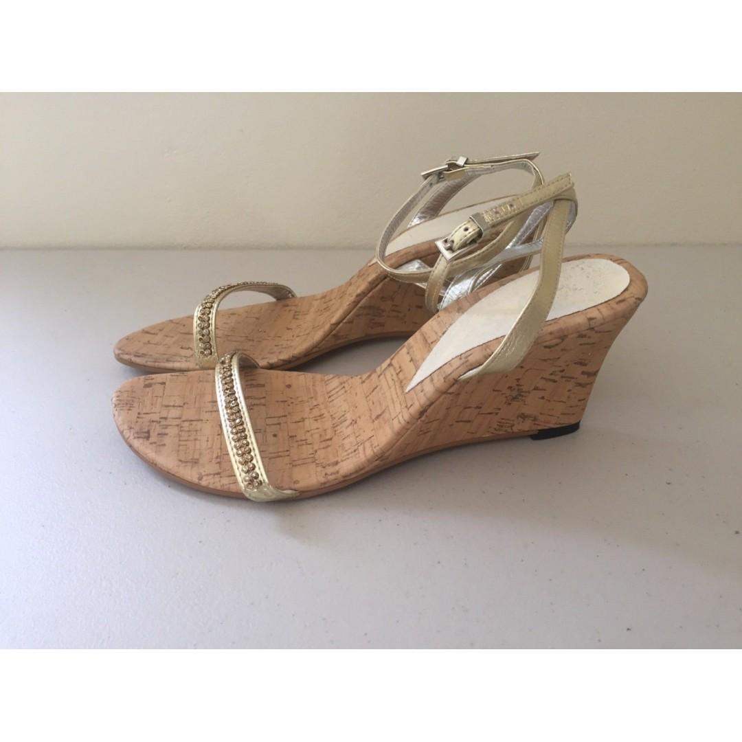 8e8fc48edf Luna' Gold Diamante Cork Wedges Mid Heel Strappy Sandals AU 9 UK 7 ...