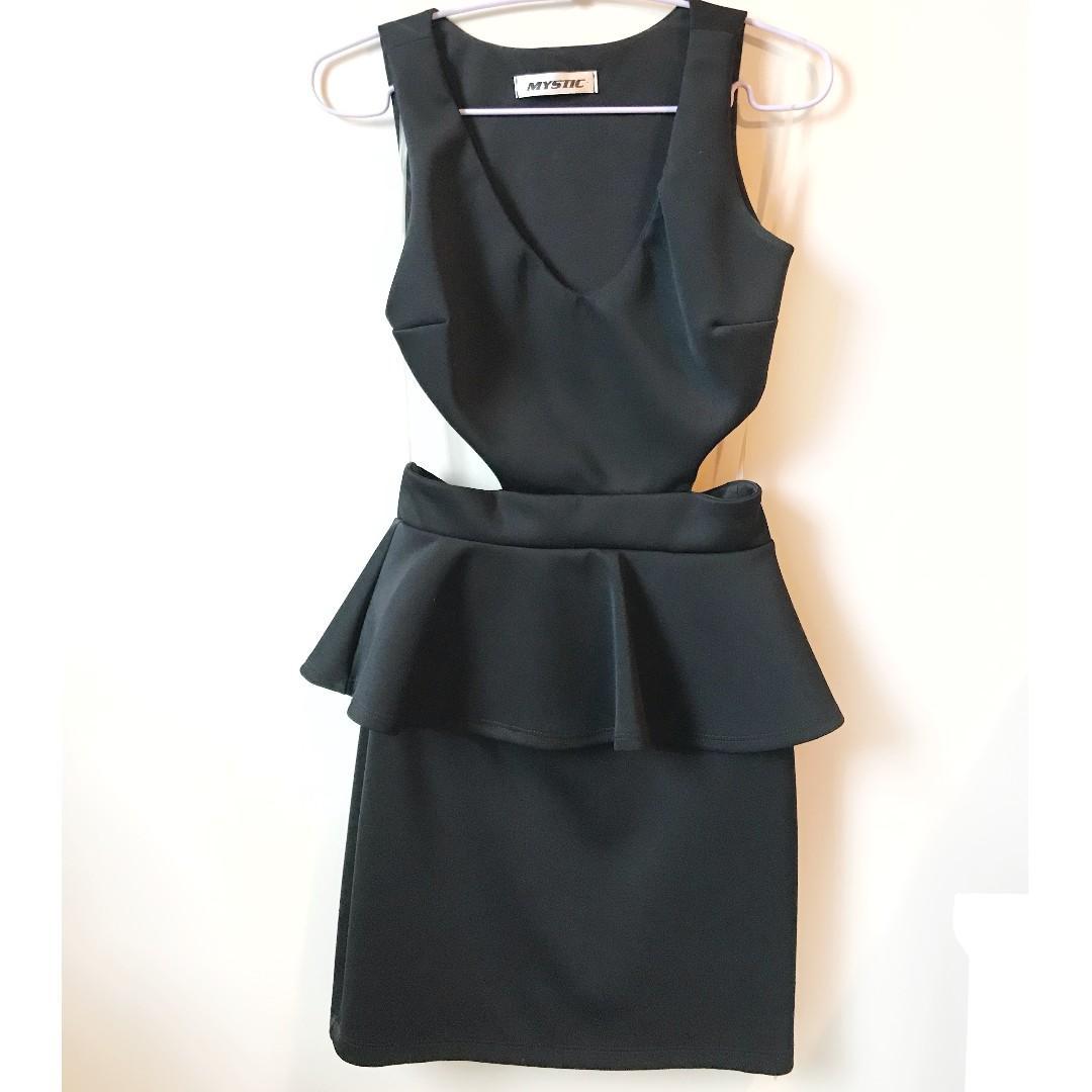 M Boutique/M for Mendocino Black Cut Out Peplum Dress, Size XS-Small