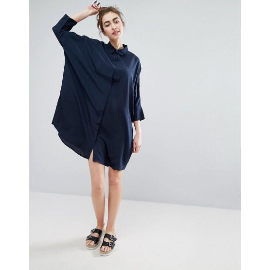 Monki Relaxed Shirt Dress Black Womens Fashion Clothes Dresses