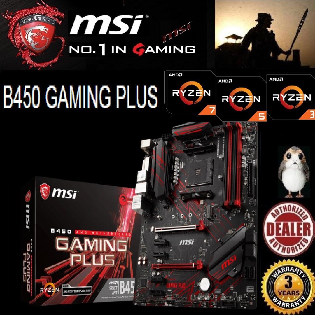MSI B450 GAMING PLUS  , ( 3 Years Warranty) + Bundle