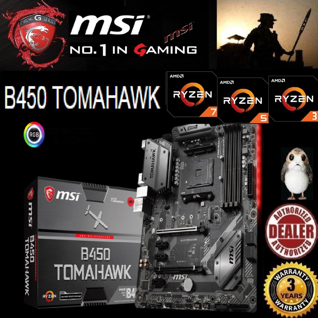 MSI B450 TOMAHAWK  , ( 3 Years Warranty) + Bundle Together with AMD B450  Chipset  , AMD Ryzen™7, 5 or 3 processor   , AM4 Socket, Type of CPU price