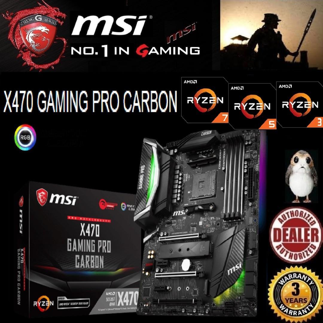 MSI X470 GAMING PRO CARBON  , ( 3 Years Warranty) + Bundle