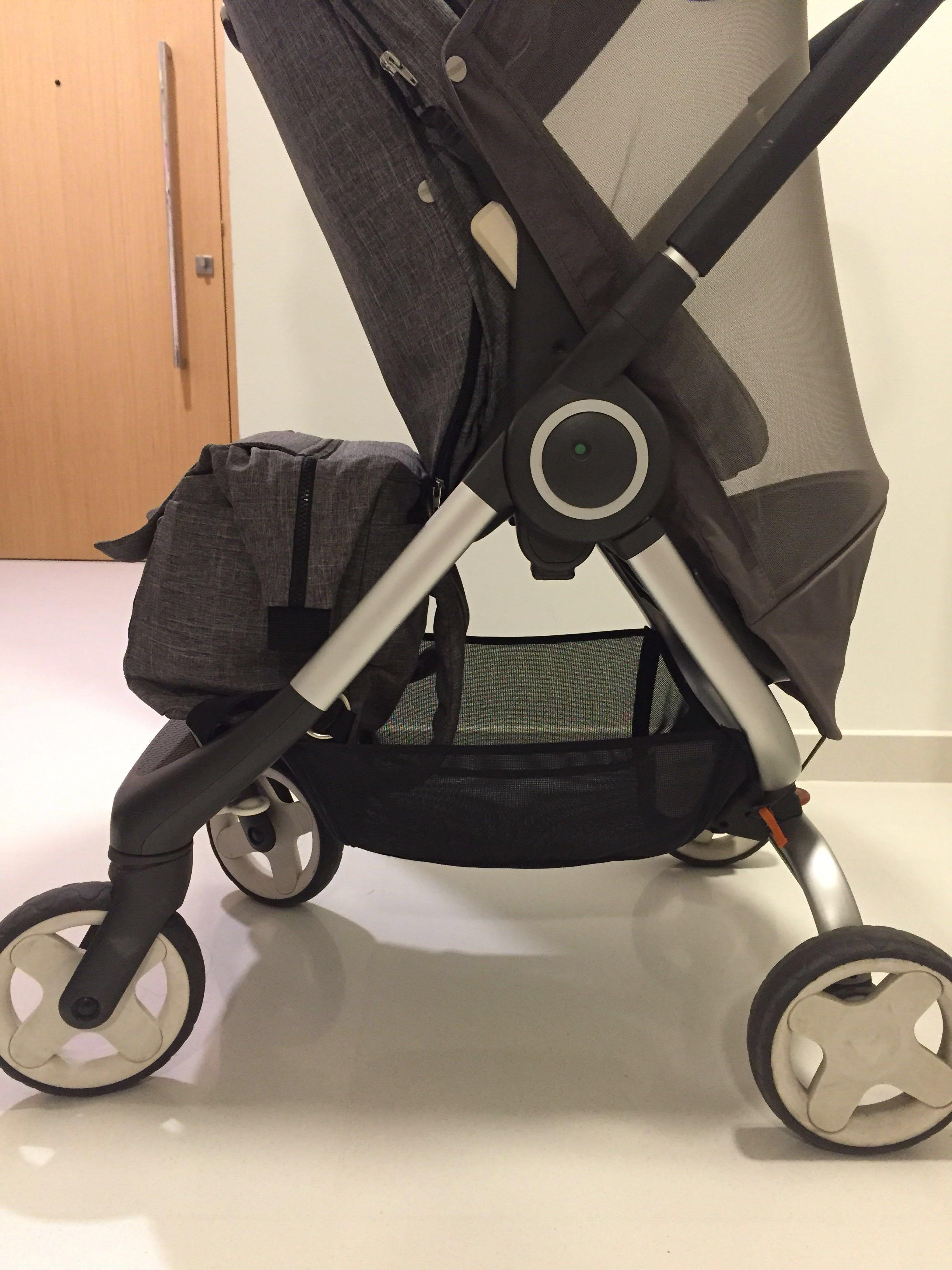 900a4d2934d51 Stokke Scoot v1 in black melange + stokke changing bag, Babies & Kids,  Strollers, Bags & Carriers on Carousell