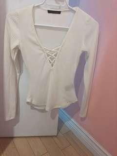 Front laced long sleeve shirt