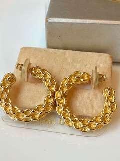 Auth Vintage Christian DIOR Rigid Chainlink Hoop Earrings