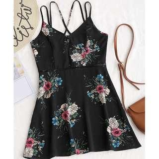 ZAFUL Floral Criss Cross Hollow Out Mini Dress