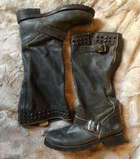 Designer Leather Engineer Boots - Twin Set by Simona Barbieri