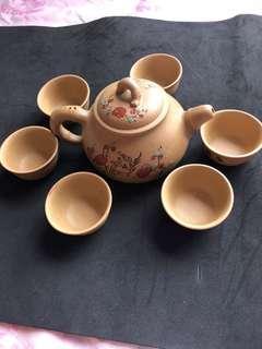 常大師手繪紫砂茶壺六杯
